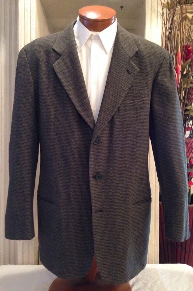 Giorgio Armani Le Collezioni Grün Tweed Blazer Cashmere Blend Sz 42 R MINT