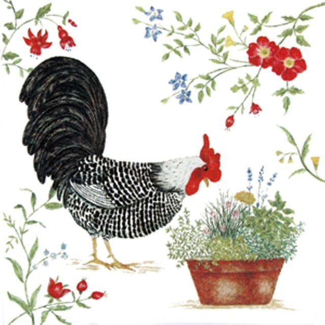 Alice's Cottage Cotton Flour Sack Kitchen Tea Towel Black Rooster - NEW