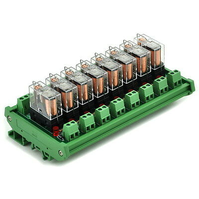 DIN Rail Mount 8 SPDT 16A Power Relay Interface Module,OMRON G2R-1-E DC24V Relay