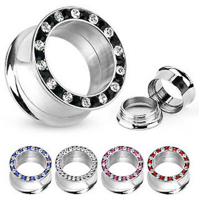 PAIR Internally Threaded Gem Rimmed Double Flare Tunnels Plugs