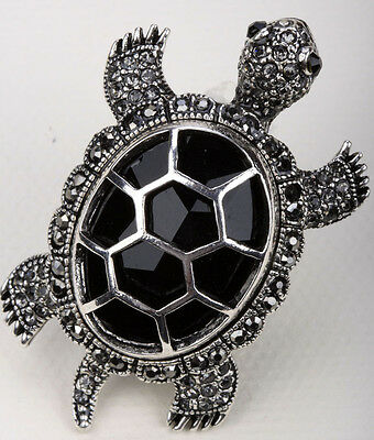 Big turtle stretch ring animal bling scarf jewelry gift 5 dropshipping black