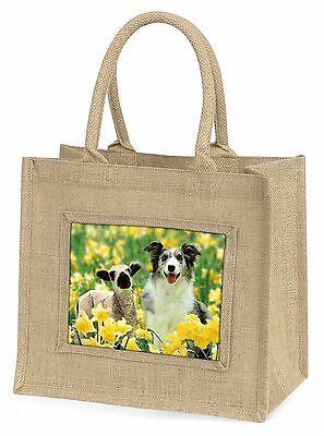 Border Collie Hund und Lamm Große Natürliche Jute-einkaufstasche Weihnachten,