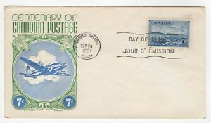 1951 Sep 24th. First Day Cover. Centenary of Canadian Postage.