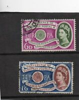 Queen Elizabeth 11 Pair of used stamps SG 619 to 620