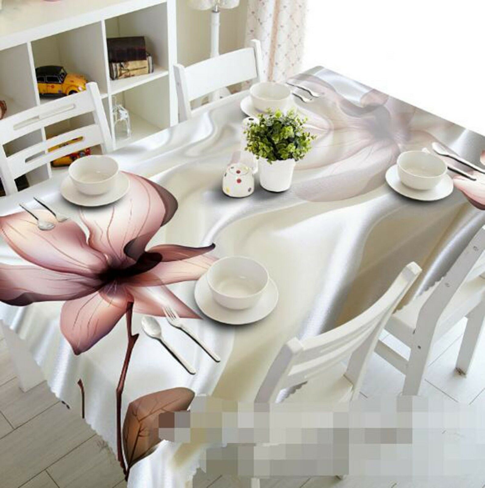 3D Lotus Painted 062 Tablecloth Table Cover Cloth Birthday Party Event AJ Lemon