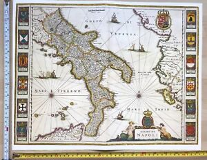 Map Of South Italy.Details About Historic Antique Old Vintage Blaeu Map Of South Italy 1640 1600 S Reprint