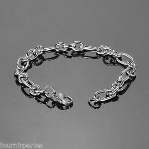 1-Bracelet-a-Chaine-Ovale-Style-Simple-Mode-Bijoux-Chic-Argent-mat-20cmx7mm