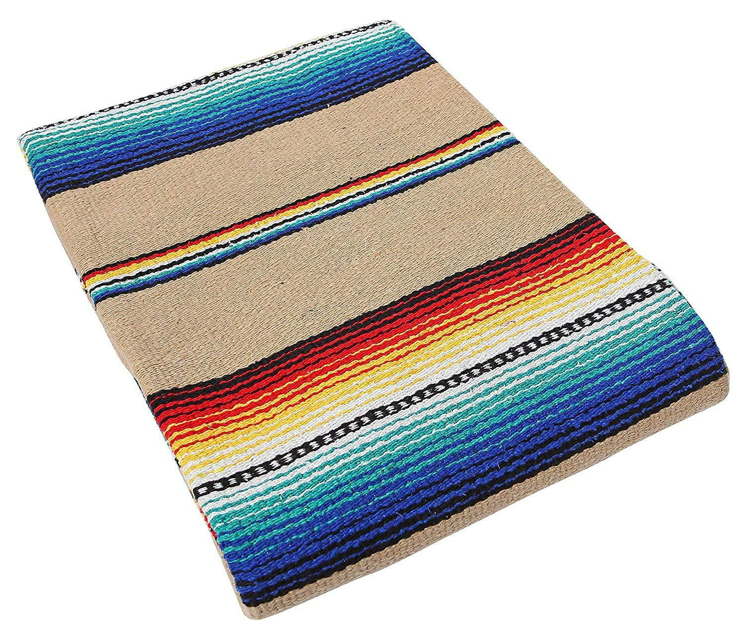 Old El Paso Blanket Throw Sarape Bed Cover Tan Mexico