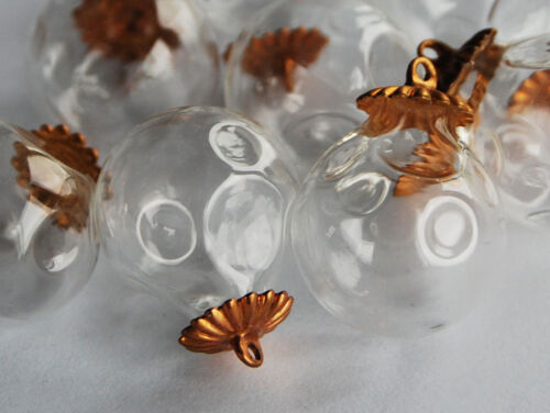 VINTAGE HOLLOW GLASS PENDANT BEADS BRASS CAPS • 18mm • HAND BLOWN GLASS • dented
