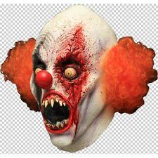 Clown Creepy Full Head Latex Mask with Hair Fancy Dress Halloween Adult