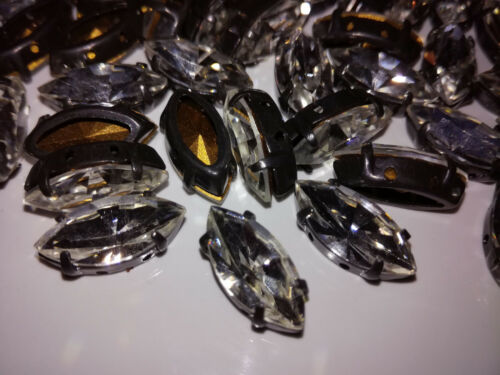 10 x preciosa mc Navette Crystal//Black 15x7 piedras fosforescentes 7192-9048 para suturar
