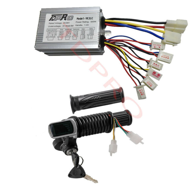48V 500W Brush Controller Motor Brushed Controller Electric Bike Throttle Grip Speed Switch Grips with Extension Cable