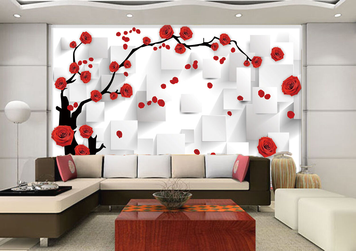 3D Branches, flowers 4367 Wall Paper Print Wall Decal Deco Indoor Wall Murals