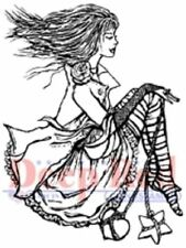 Deep Red Rubber Cling Stamp Emo Girl Steampunk Attire