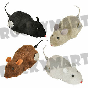 Wind Up Running Furry Mouse Mice Realistic Looking Prank Cat Toy Novelty RM1964