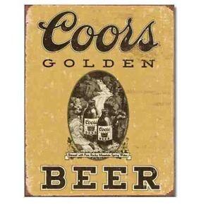 COORS GOLDEN BOTTLE BEER NEW Bar Vintage Retro Metal Tin Sign ManCave Garage