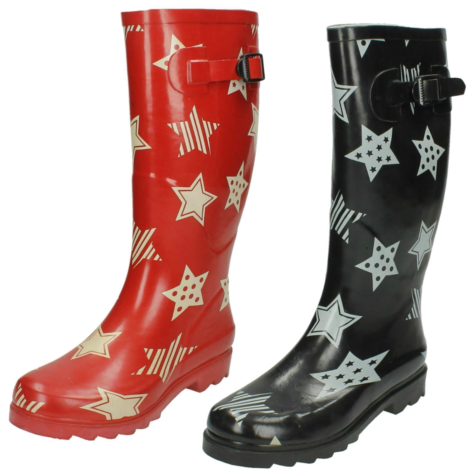 X1044- Ladies Rubber Wellington Boot With White Star Design - 2 Colours!