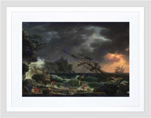 CLAUDE JOSEPH VERNET FRENCH SHIPWRECK BLACK FRAMED ART PRINT PICTURE B12X5153