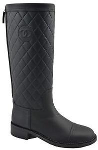 1-900-Chanel-en-cuir-noir-hautes-a-effet-matelasse-Motard-Equitation-Bottes-39-5-9-5