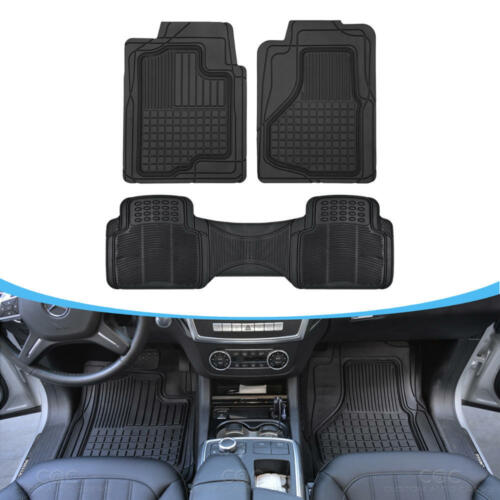 3pc Heavy Duty Rubber Floor Mats Liners for Auto SUV Van Car All Weather 3D Gear