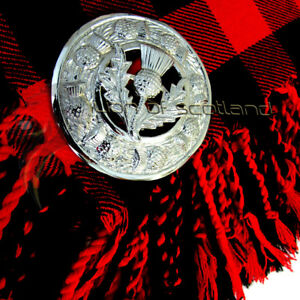 "Scottish Thistle Crest Kilt Fly Plaid Brooch Chrome Finish 3/"" Highland Brooches"