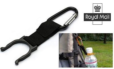 Carabiner Water Bottle Holder Hook Strap- Cycling/Camping/Hiking - Black
