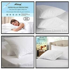 Anti Allergy 100% Egyptian Cotton Pillow Protectors Pair Zipped Closing