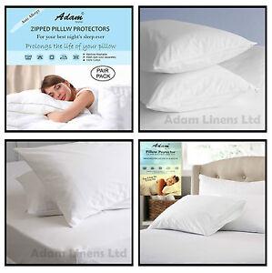 Anti Allergy 100% Egyptian Cotton Pillow Protectors Pair Zipped Closing