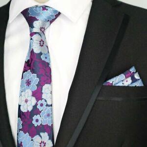 Violet-Fleur-Bleu-a-motifs-fait-main-100-Soie-Cravate-et-Mouchoir-de-Poche-Lot
