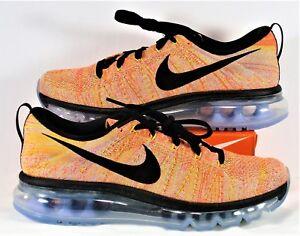 eb80cb5359f0 Nike Air Flyknit Max Black   Hot Punch Running Shoes Sz 11.5 NEW ...