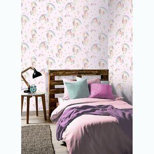 Details zu Regenbogen Einhorn Glitzer Tapete Rosa - Arthouse 696108 Mädchen
