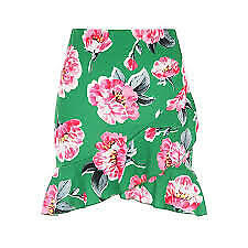 Jane-Norman-Green-Floral-Frill-Skirt-Ladies-Womens-UK-Size-12