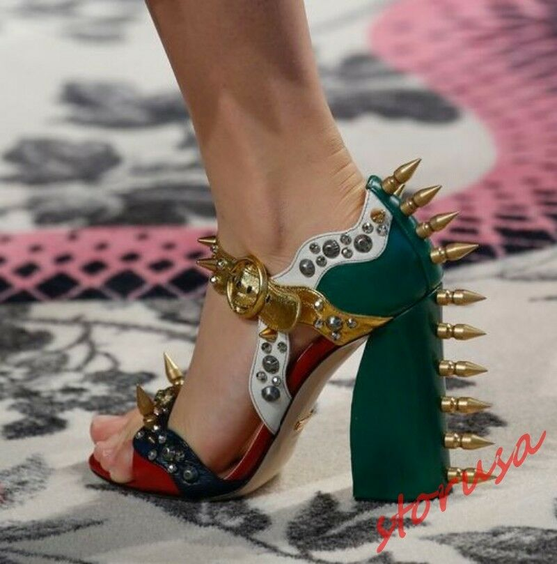 Donna Mixed Colors Rivet Buckle Strap Sandals High Block Heels Stud Party Shoes