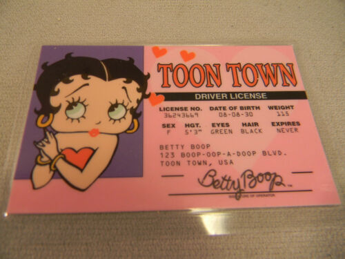Betty Boop  BETTY/'S very own DRIVERS LICENSE  brand new