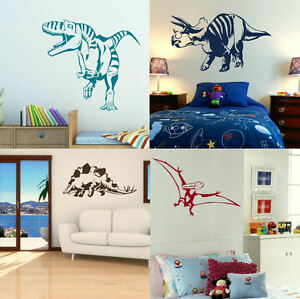 Dinosaur wall stickers boys dino bedroom art lads room - Deco chambre dinosaure ...