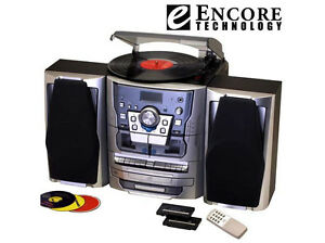 Encore 5 In 1 Turntable Cd Cassette Radio Stereo System