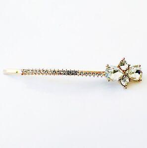 USA Bobby Pin Rhinestone Crystal Hair Clip Hairpin Fashion Long Gold Clear 001
