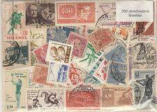 200 verschiedene Briefmarken aus Brasilien