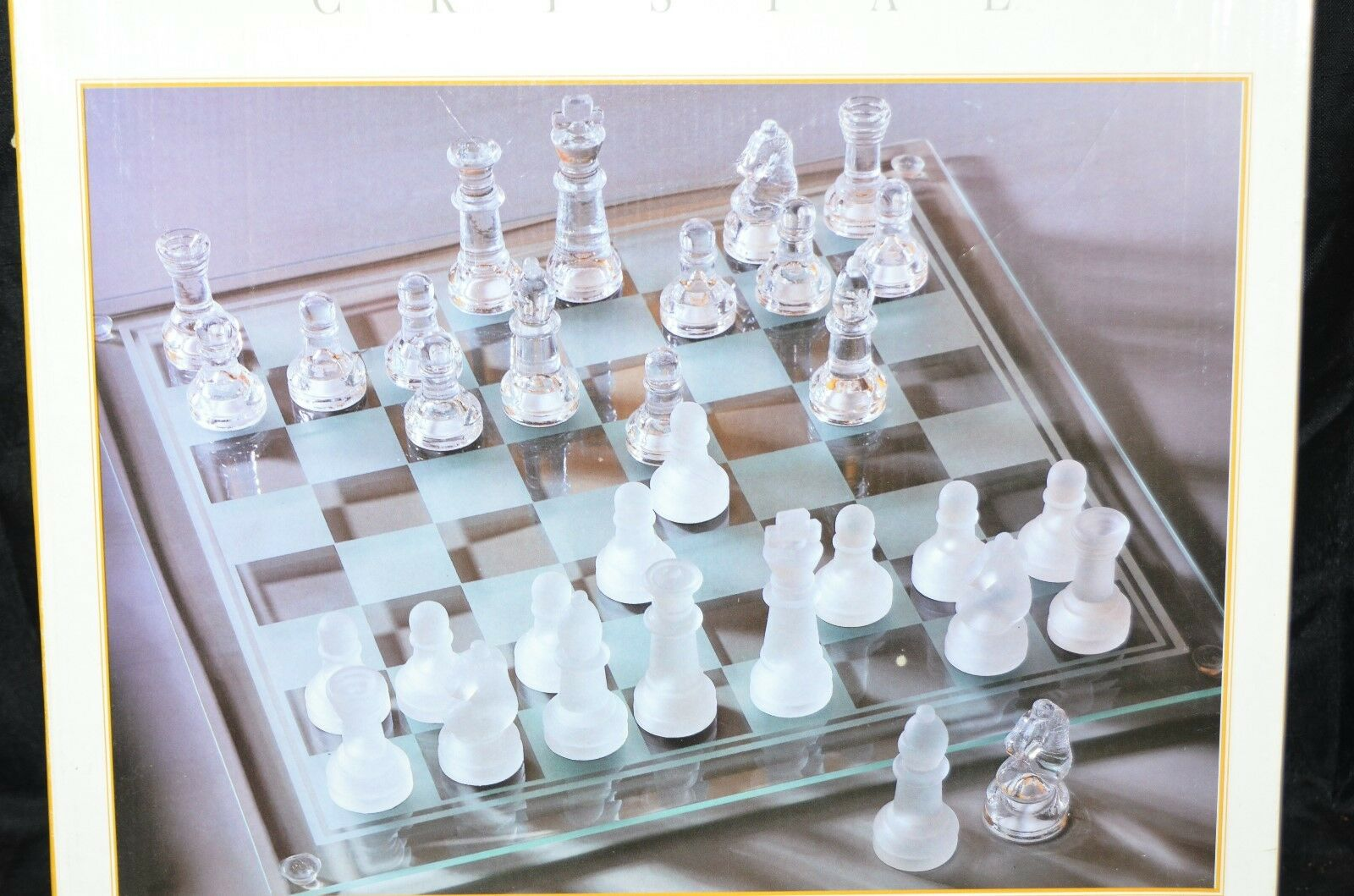 Vintage Fifth Avenue Crystal Glass Chess Set Complete Replacement Frosted Pieces
