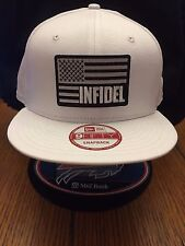 New Era NE400 Navy Blue Flat Brim Snapback Hat//Cap W// American Flag Gold Border