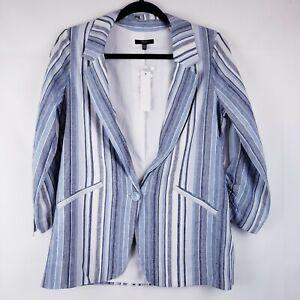 Drew Womens Striped Blazer Coat Linen Blue Size XS New Button lined