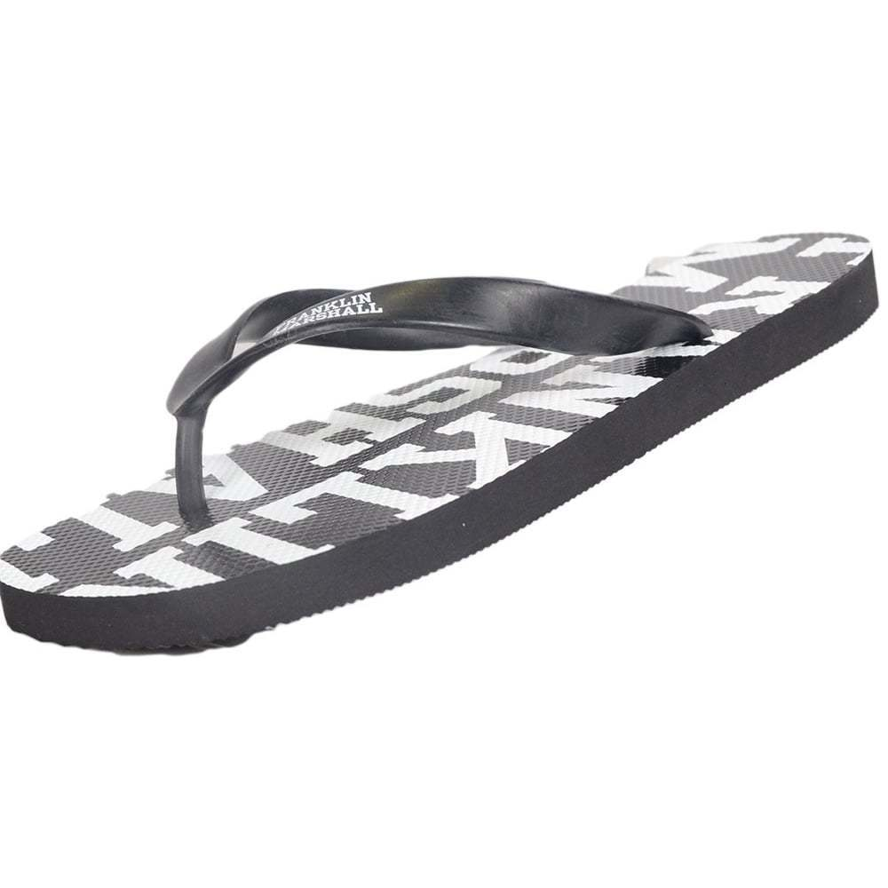 Franklin & Marshall UA987 Unisex Rubber All Over Logo Black Thong Sandals