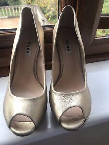 Dune Gold Wedge Peep Toe Shoes Size 6 1