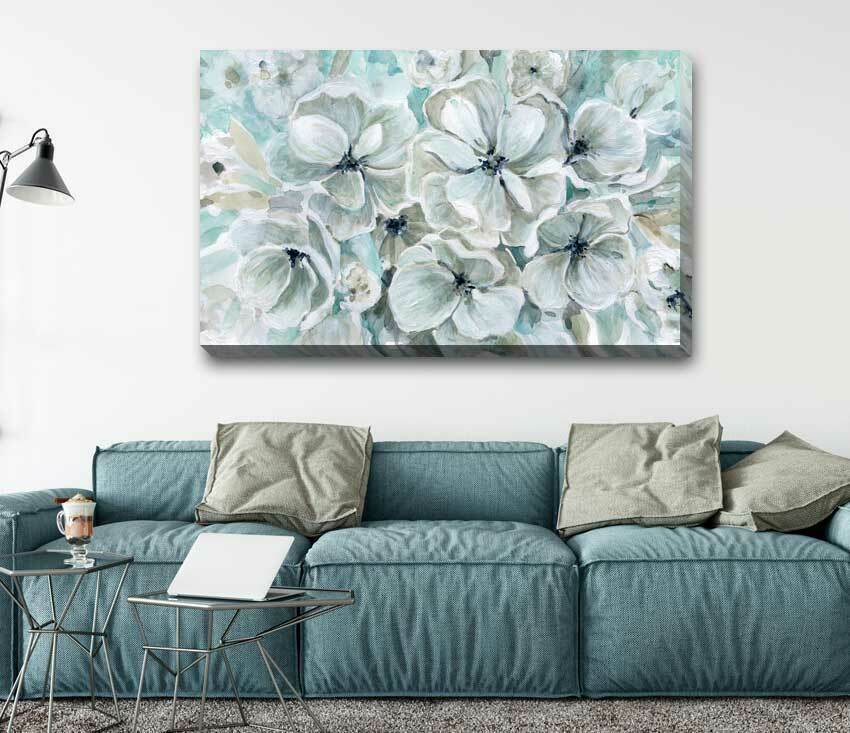 Teal Flower Blossom Stretched Canvas Print Framed Wall Art Decor Painting F118