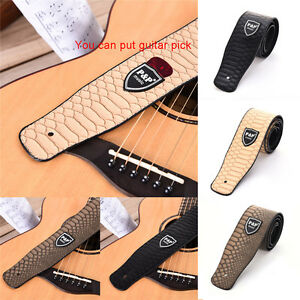 Adjustable-Snakeskin-Pattern-PU-Guitar-Strap-Cross-for-Folk-Electric-Guitar-Bass