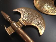 Set Of 2 Vintage Decorative Copper Axe Wood Cutter Hand Engraved Dwarf Medieval