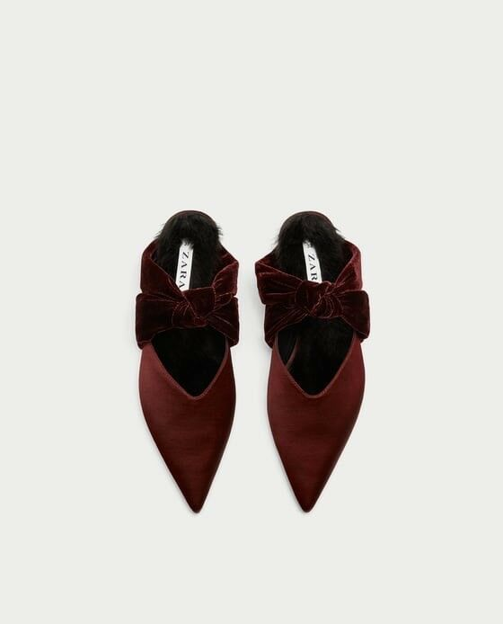 Zara Woman Velvet Backless Schuhes With Bow Größe 6 EUR 36 NWT