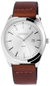 Akzent-Herrenuhr-Silber-Braun-Analog-Datum-Kunst-Leder-Armbanduhr-X-SS7222500058