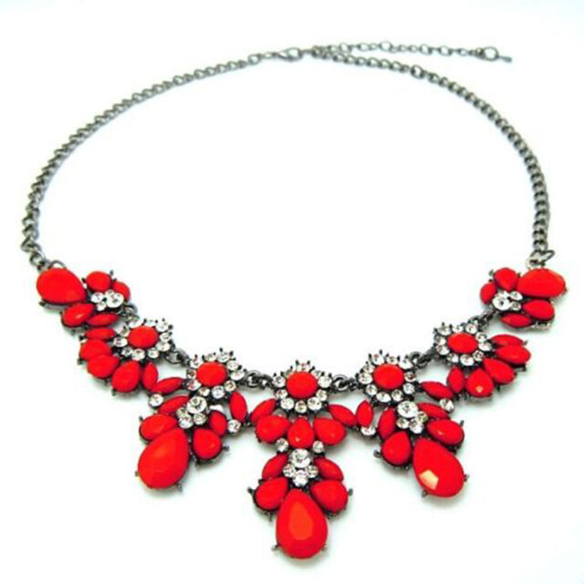 Stylish Women Crystal Flower Pendant Choker Chunky Statement Bib Chain Necklace
