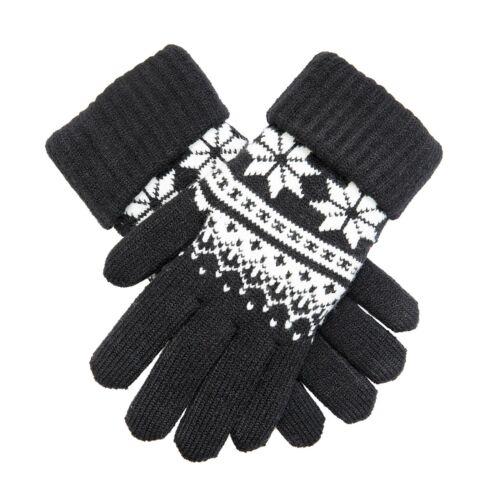 Bosses Noir /& Blanc Hiver Tricot Femmes Gants avec motif flocon de neige